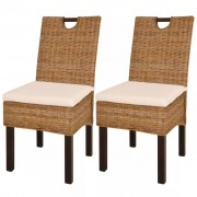 vidaXL Cadeiras de jantar, 2 pcs, vime Kubu e madeira de mangueira