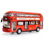 Makimama Alloy London Bus Double Decker Bus Light & Music Open Door Design Metal Bus Diecast Bus Design for Londoners Toy for Children - LKU114-R, Red