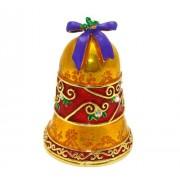"Objet D'Art Release #368 ""Sleigh Bells"" Christmas Holiday Bell Handmade Jeweled Metal & Enamel Trinket Box"