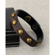 Dare by Voylla Leather Trend Bracelet with Oxidized Gold Beads