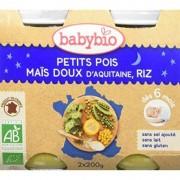 Babybio Petit Pois, Maïs Doux d'Aquitaine, Riz- 2x200g - Babybio