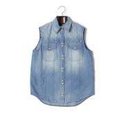 【65%OFF】キルティングヨーク 切替 ポケット ノースリーブシャツ マルチブルー 36 ファッション > レディースウエア~~その他トップス