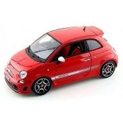 2008 Fiat 500 Abarth, Red - Bburago 11028 - 1/18 scale diecast model toy car