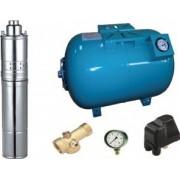 Kit complet sistem hidrofor pompa submersibila cu surub Maxima 4QGD 0.37/50 rezervor 50 litri cu manometru racord 5 cai