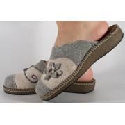 Papuci de casa gri cu alb din lana dama/dame/femei (cod ESTEL)