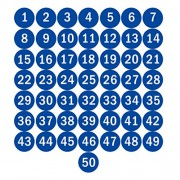 NAVAdeal Plastic Round Number 1 50 Adhesive Stickers Identify Inventory Storage Labels (Blue, 1.5-inch)