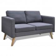 vidaXL Двуместен диван, тапицерия от плат, тъмносив