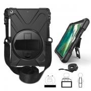 Skyddsskal med handrem, axelband, ställ & pennhållare iPad 9.7, Svart