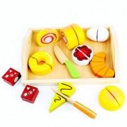Joc Educativ pentru Copii Set Feliere Mic Dejun din Lemn