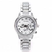 AIBBER TONE marca de lujo de lujo de las mujeres de acero inoxidable diamante de cuarzo Ginebra reloj de regalo para damas de nina - plata