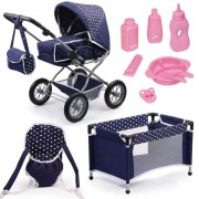 Bayer Doll's Pram Set Combi Grande Blue 15051AB