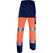 Pantaloni da lavoro Delta Plus - 401752 Pantaloni da lavoro in cotone 46% poliestere 260 g/mq strisce retro-riflettenti cucite taglia m di colore arancione fluo/blu in confezione da 1 Pz.