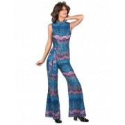 Vegaoo Blaues 70er Jahre Damenkostüm Overall