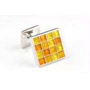 Mousie Bean Enamelled Cufflinks Multi Square 105 Tonal Yellow