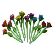 ELECTROPRIME 12pc Blue Ink Ball Pen Ballpoint w/Plush Roses Flower Writing Pen Desk Decor