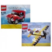 LEGO Creator Red Jeep 7803 & Yellow Airplane 7808