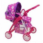 Carucior pentru papusi Baby Mix Pinky Flowers