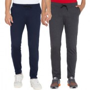 Cliths Men's Dark Grey Navy Blue Slim Fit Cotton Solid Trackpants (Pack Of 2)