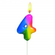 Lumanare aniversara, cifra ''4'', curcubeu, HERLITZ