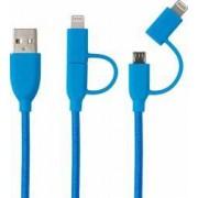 Cablu MicroUSB and Lightning MFI Boompods Duo 1m impletitura textila Blue