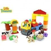 Little Treasures Farmer Farming Bricks Set with Animals - 58 building block pieces with DUPLO compatibility for 3+ kids; both for girls and boys