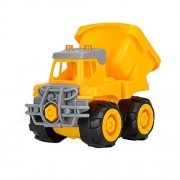 Aobiny Friction Powered Cars Push and Go Car Construction Vehicles Toys Bulldozer,Cement Mixer Truck,Dumper Push Back Cartoon Play for 1 2 3 Years Old Boys Toddlers Kids Gift (B)