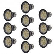 vidaXL Прожекторен комплект, 10 LED крушки, черни, 3W E27, топло бяло