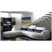 items-france ALL TIME - Canape contemporain d´angle cuir 5 places 290x190x108