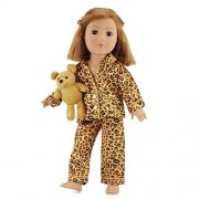 18 Inch Doll Clothes Satin Feel Cheetah Pajamas with Teddy Bear | Fits American Girl Dolls | Gift-bo