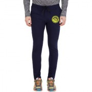 Cliths Men's Navy Yellow Round Zeep Printed Trackpant