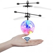 Etpark Rc Flying Ball Crystal Flashing Led Light Toy Infrared Induction Helicopter for Kids, Teenagers Colorful Flyings Kid's Toy(Classic Transparent No Remote Control)