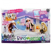 Moxie Girlz Doll Series Accessory Set - Magic Snow Cabin with Bat Table Bar Stool Couch Firelogs with Simulated Fire Radio Fondue Pot 2 Fondue Skewers Tray Muffin Croissant Milk Carton 2 Tall Cocoa Cups 2 Cocoa Mugs Snow Shovel amd 1 Pack of