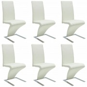 vidaXL Dining Chairs 6 pcs with Iron Legs Faux Leather White