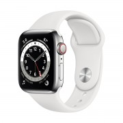 Smartwatch Apple Watch Series 6 GPS + Cellular, 40mm, 4G, Carcasa Silver Stainless Steel, Bratara White Sport Band