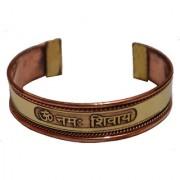Men Style Om Namo Shivay Gold And Brown Copper Half Round Half Kada For Men And Women