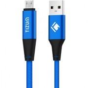 Tizum Micro-USB Cable 1.2 mtr Premium Kevlar-Nylon Fiber Braided Aluminum Plugs 2.4A Fast Charging Data Cable (Blue)