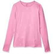 Nike Pro Mesh Camiseta de Manga Larga para Mujer, Color Magic Flamingo/White, L