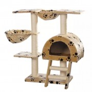 vidaXL Ansamblu din sisal pentru pisici 105 cm pluș bej cu lăbuțe