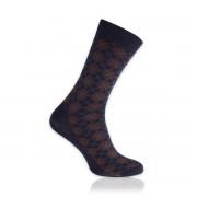 Férfi zokni sötétkék színben barna mintával 11257