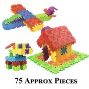 Happy GiftMart 75 Square Colourful Educational Building Block Kit Do it Yourself DIY Learning Toy (Square Blocks)