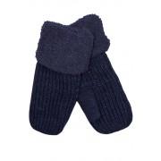 Emi Ross dámské pletené palčáky s kožíškem tmavě modrá