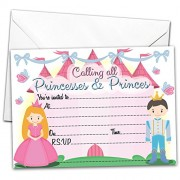 All-Ways Design Pack of 20 Glossy Party Invitations Princess and Prince with X Envelopes for Kids Birthday Invites Princesses & Princes Children's