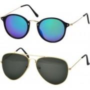 Freny Exim Aviator, Round Sunglasses(Violet, Green)