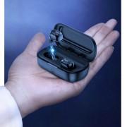 Casti wireless waterproof cu doc incarcare, Baseus Encok W01, bluetooth 5.0, TWS, negre