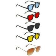 alience Rectangular, Aviator Sunglasses(Red, Yellow, Black, Brown)