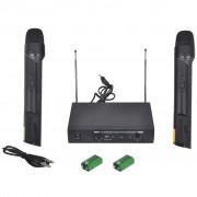 vidaXL Приемник с 2 безжични VHF микрофона