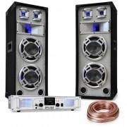 "Electronic-Star Juego de equipo PA para DJ ""White Noise"" 2x500W Amplificador 600W Altavoces PA Cable para altavoz (PL-4822-5037)"