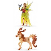 Bayala Schleich Bayala Fantasy Life Set of 2: Marween in Festive Clothes with her Striped Foal Bagged Together Partially Concealed: Durable Highly Detailed Realistic Hand-painted