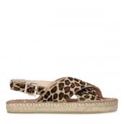 Manfield Panterprint sandalen met gekruiste banden