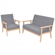 vidaXL Conjunto de sofás 2 pcs tecido cinzento claro